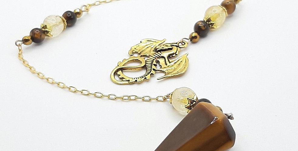 Tigers Eye & Citrine Golden Dragon Pendulum