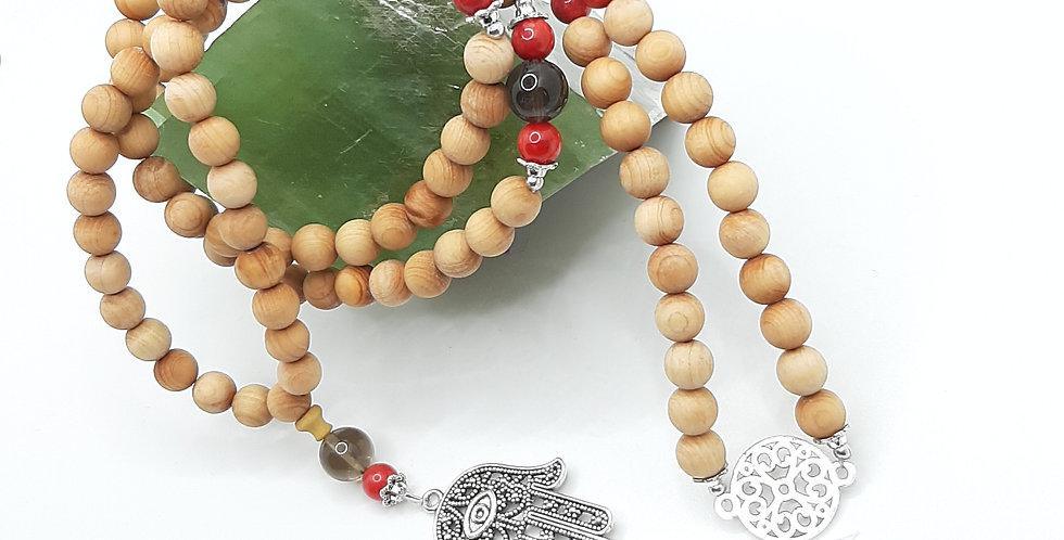 Sandalwood, Smoky Quartz & Red Coral Prayer Beads