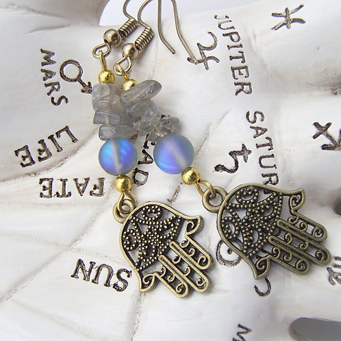 Labradorite & Hamsa Earrings