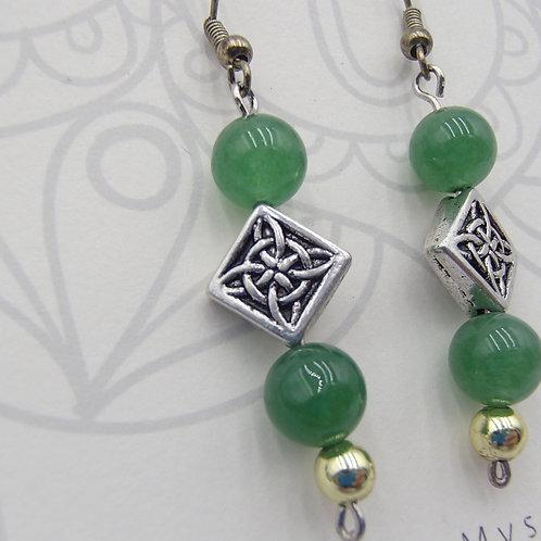 Green Aventurine & Celtic Knotwork Earrings