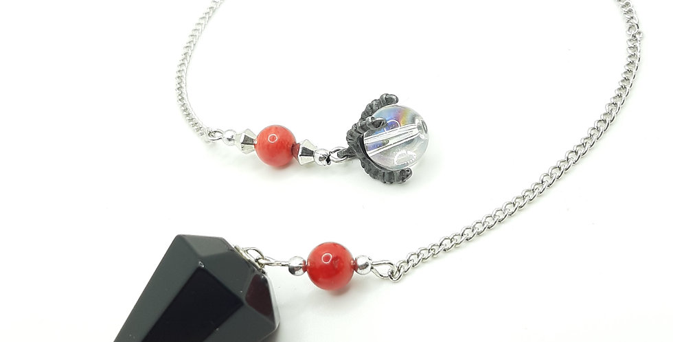 Obsdian, Red Coral, Snowflake Obssidian Dragons Claw Pendulum
