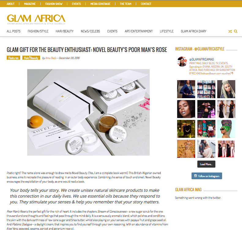 Glam Africa Novel Skincare review