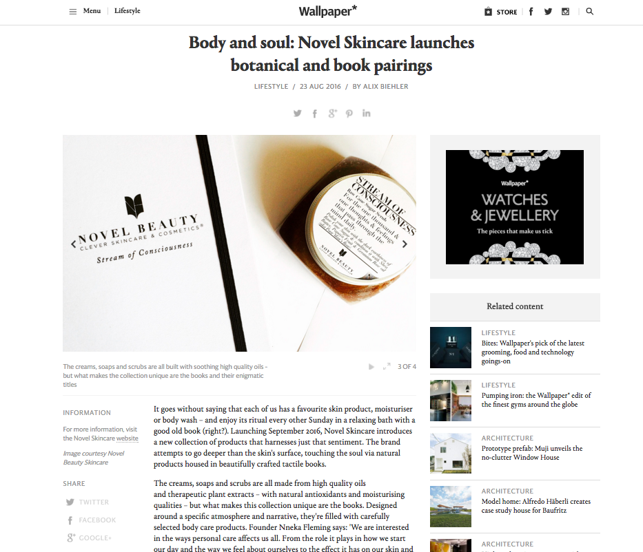 NOVEL SKINCARE WALLPAPER MAGAZINE