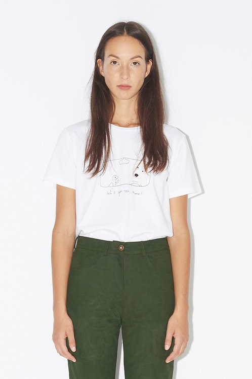 nanushka. LET'S GO - EMBROIDERED TEE WHITE / GINIE EMBROIDERY