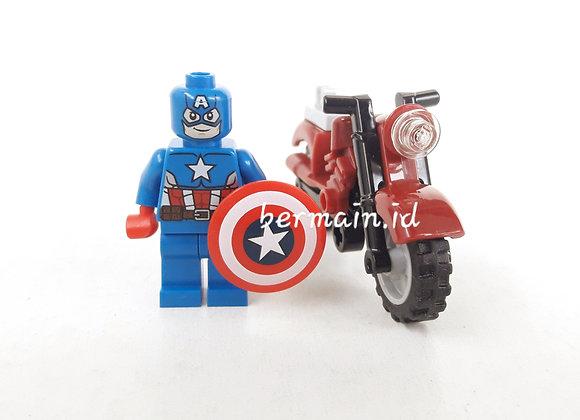 Lego Minifigure Captain America & Bike - Marvel The Avenger