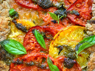 Gluten-Free Heirloom Tomato Galette w/ Kale Pesto
