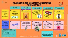 Planning des 6-10 ans des Vacances de la Toussaint