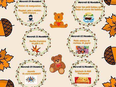 Planning des activités 3/4 ans et 4/5 ans