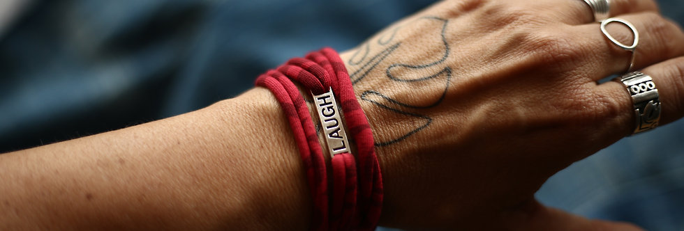 Armband LAUGH rot gemustert