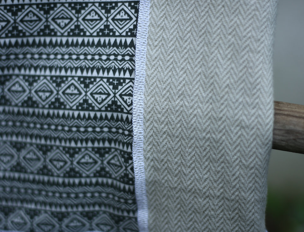 Hüftschal grün/grau/beige