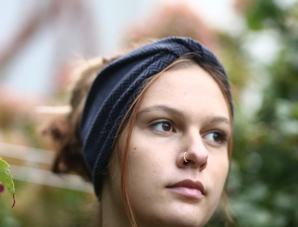 Haarband bio Jaquard blaugrau