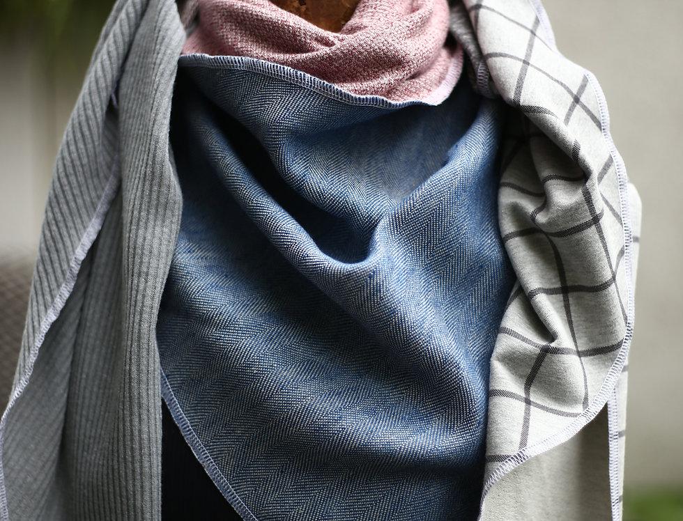 Dreieckstuch grey / blue