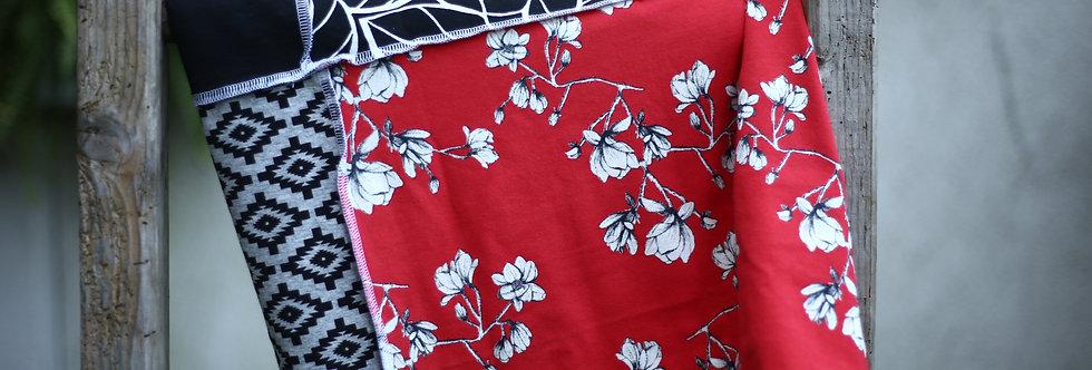 Hüftschal red flowers