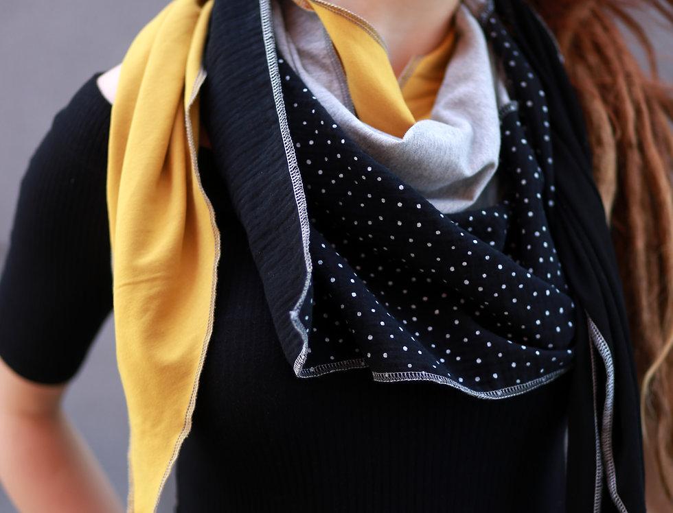 Dreieckstuch black yellow dots