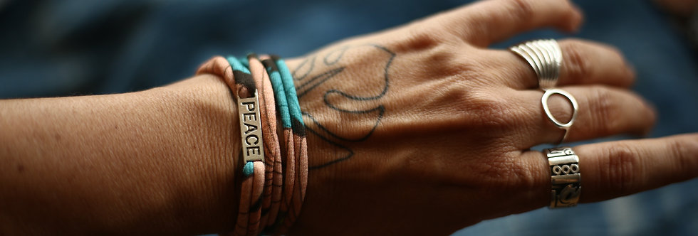 Armband PEACE braun/petrol/nude