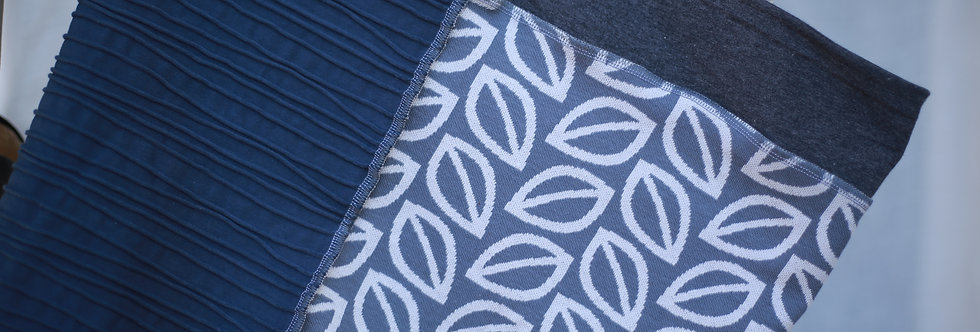 Hüftschal leaves grey & blue