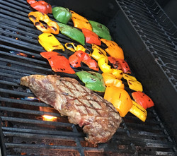 Rib Eye with Grilled Peppers