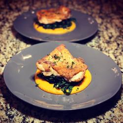 SV Chicken Thigh, Kale, Yam Puree