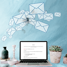 Computer and plants with email envelopes