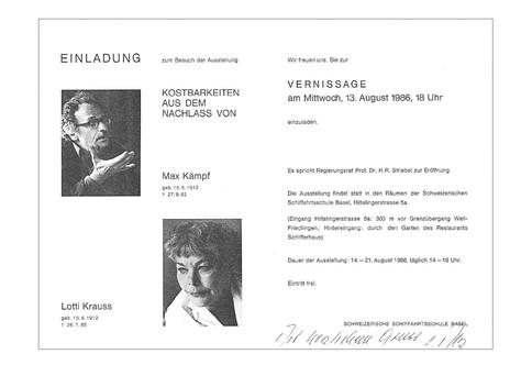 1986 Ausstellung Max Kämpf und Lotti Krauss