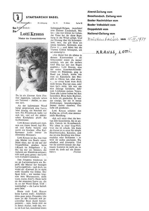 1974 Brückenbauer-Lotti Krauss-Mutter der Fasnachtslarven