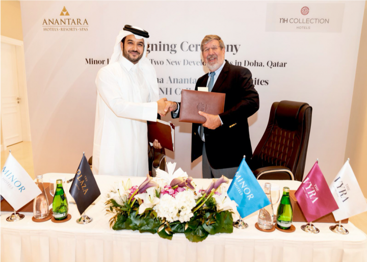 Minor Hotels has signed a partnership agreement with Samrya Hospitality with their NH Collection brand for The Vyra and the renowned brand Anantara for The Plaza Doha.