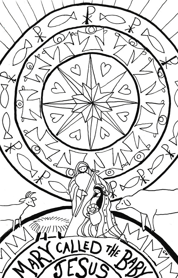 Coloring page for Advent/Christmas