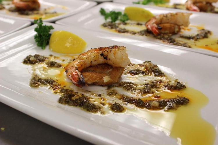 Grilled Jumbo Shrimp over Mushroom Risotto Croquette