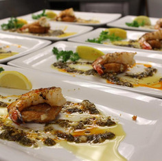 Grilled Jumbo Shrimp with Chimichurri Sauce over Mushroom Risotto Croquette
