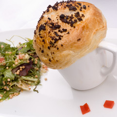 Wild Mushroom Truffle Bisque with Puff Pastry