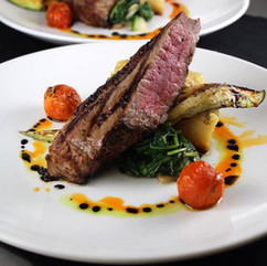 New York Strip with sauteed Spinach and Roasted Tomatoes