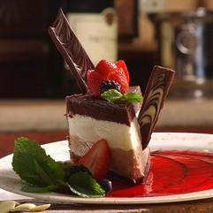 Tri-Color Chocolate Mousse Cake