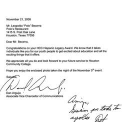 11 21 2008 HCC - Hispanic Legacy Award