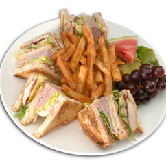 Club Sandwich: Marinated Chicken,Tomatoes,Bacon,Cheddar and Swiss Cheese, Ham on toasted Artisanal Bread