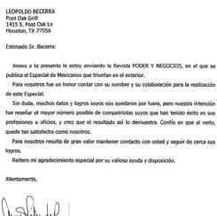 11/28/06 Featured in PODER Y NEGOCIOS