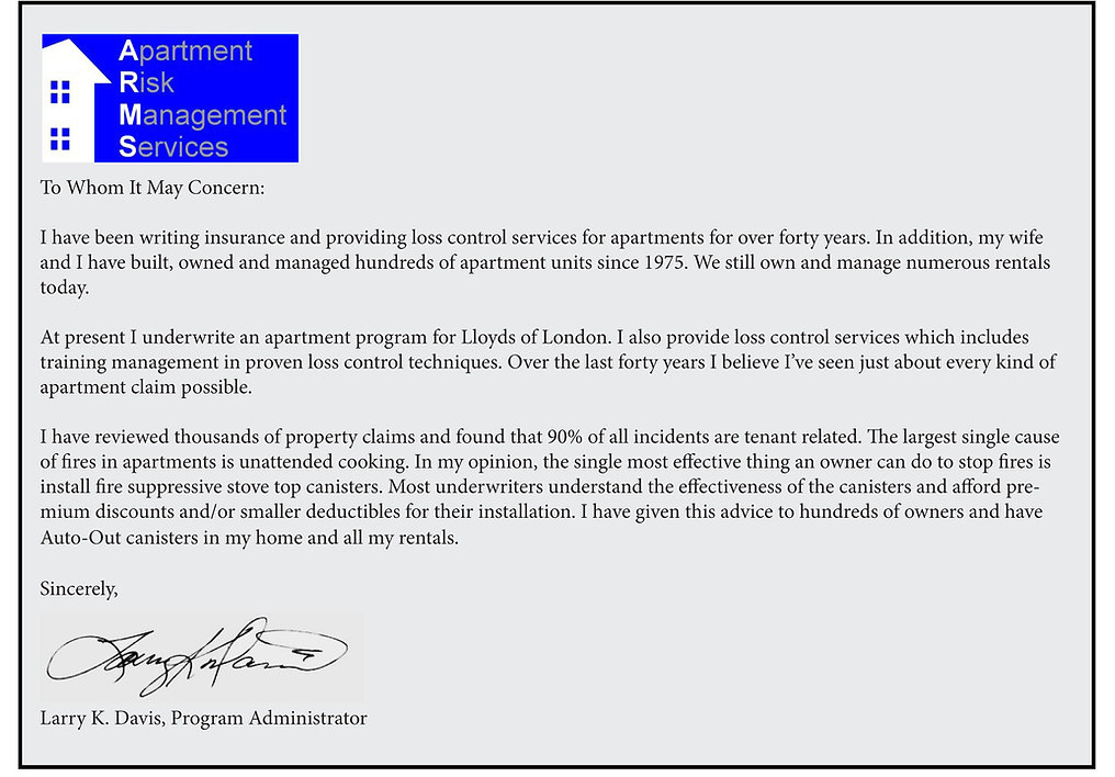 Auto-Out testimonial from Larry Davis