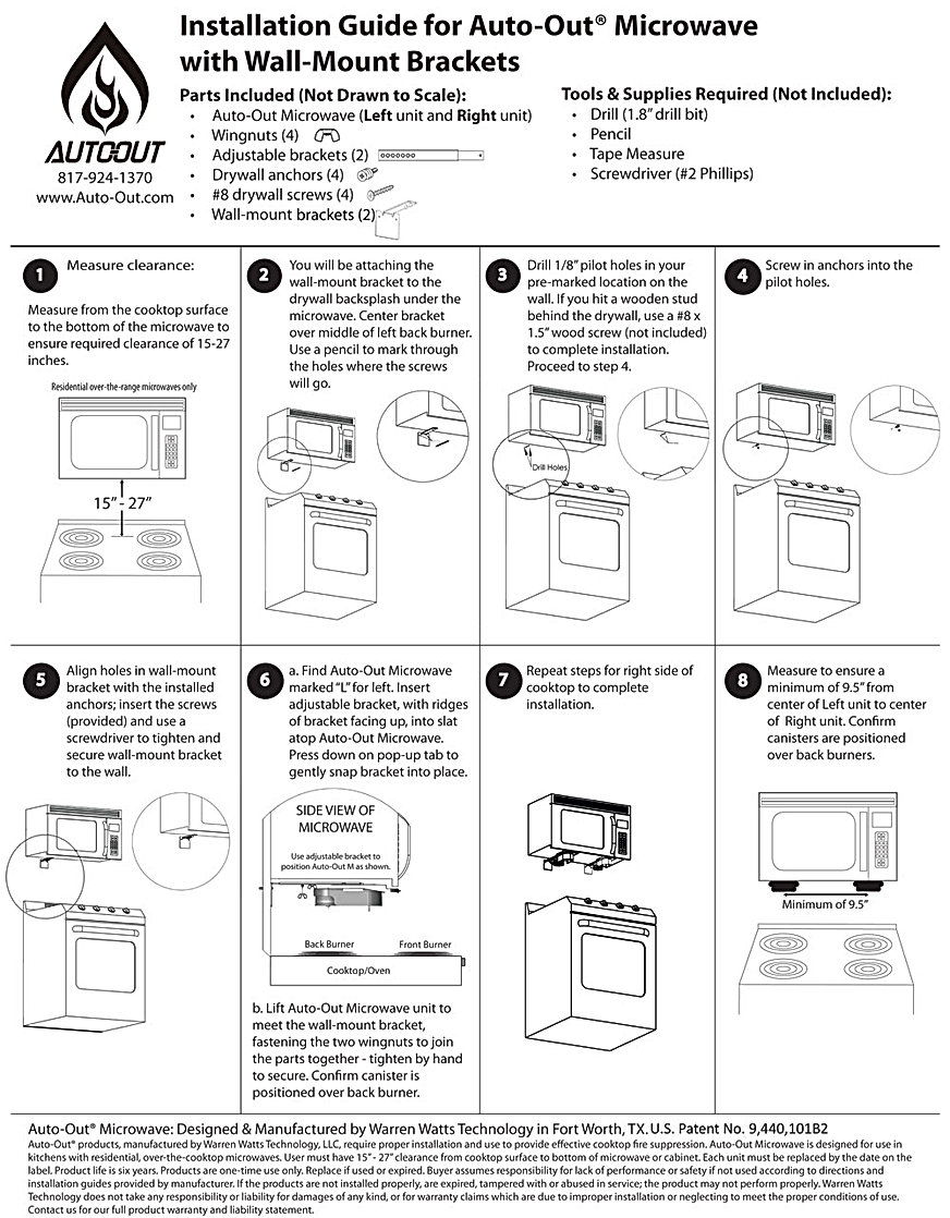 Auto-Out-Microwave-Wall-Mount Installation Instructions