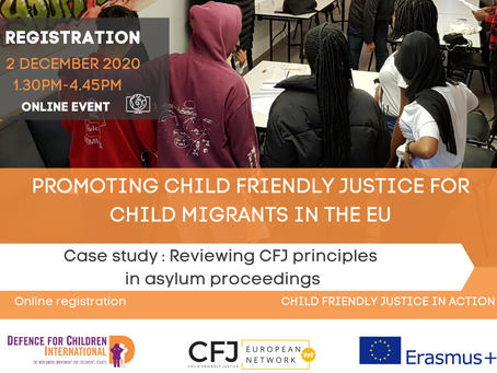 Save the date! 2 December 2020 - Final event - Child Friendly Justice in Action