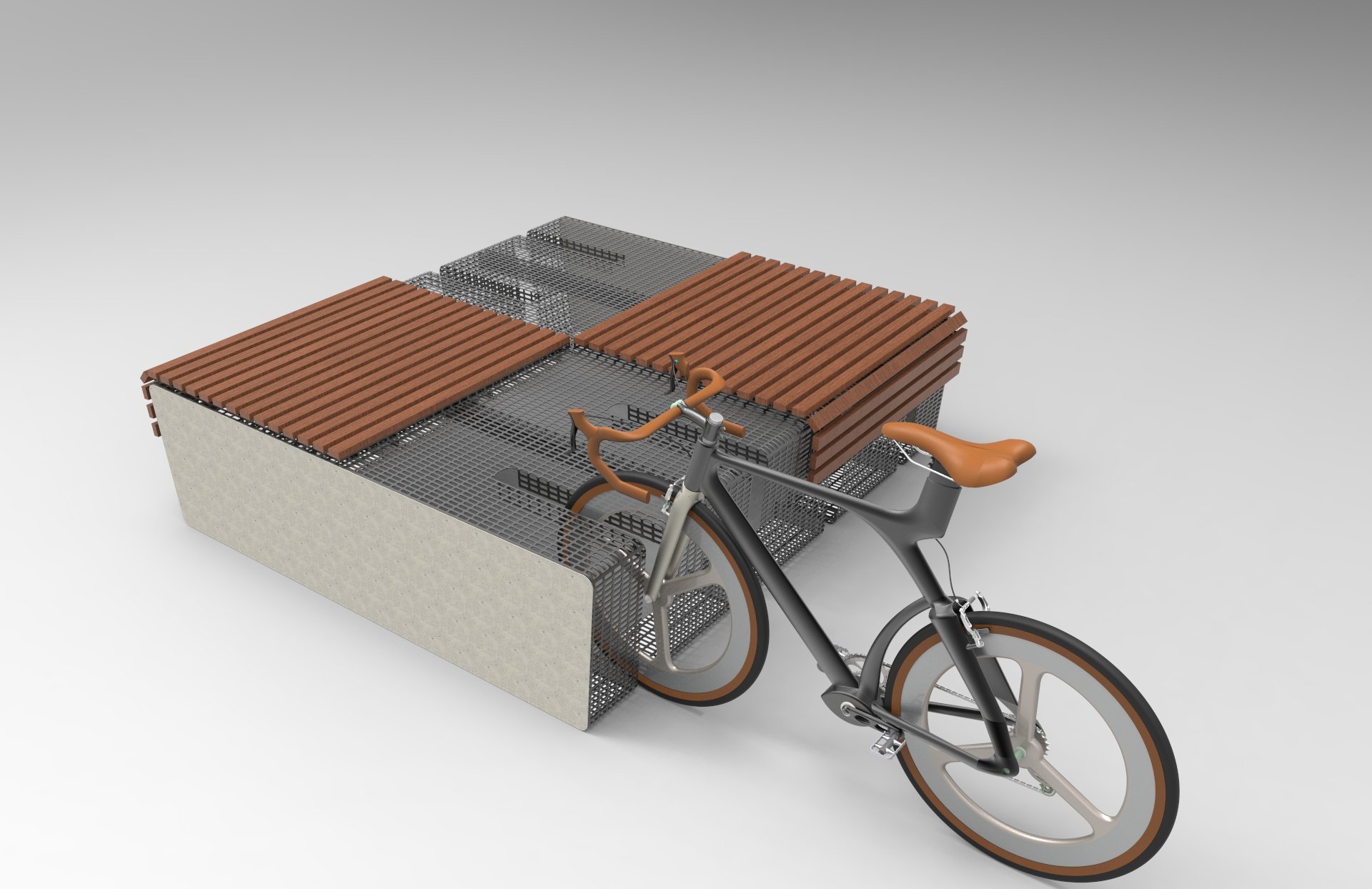 Cityplus Parklet Bike Parking Bench