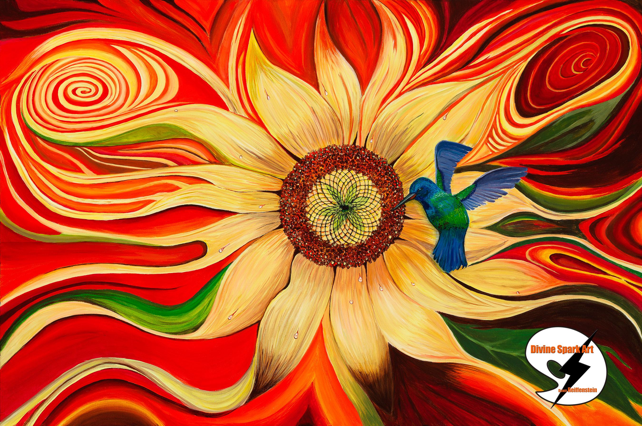 Sunflower and Hummingbird, 2017