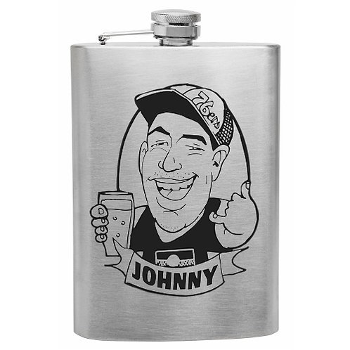 Caricature on Hip flask