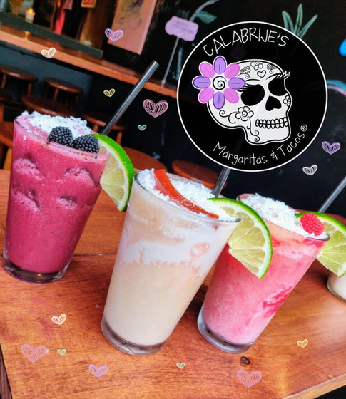 blueberry coconut, guava coconut and raspberry coconut margaritas
