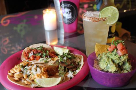 guacamole, lime margarita and tacos