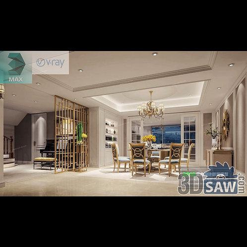 3d Model Interior Free Download - 3ds Max Dining Room Decor - MX-885
