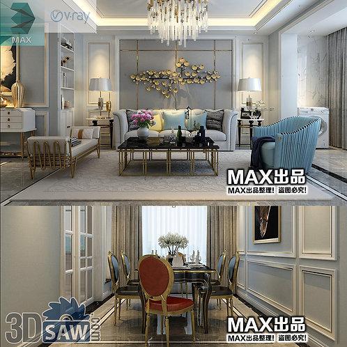 3d Model Interior Free Download - 3ds Max Living Room Decor - MX-1038