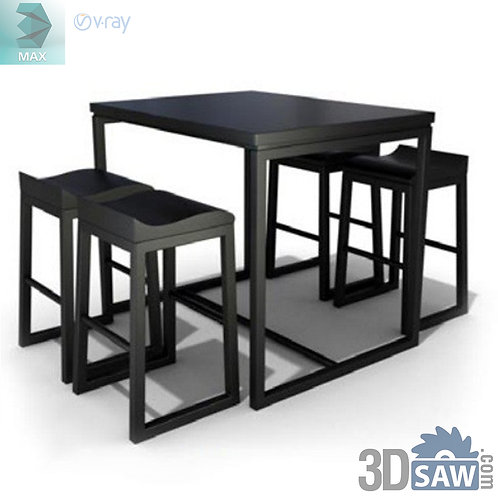 3ds Max Table And Chairs Model - 3d Model Free Download - MX-1143