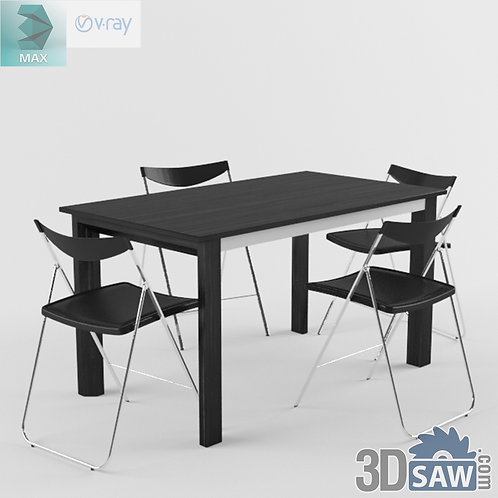 3ds Max Table And Chairs Model - 3d Model Free Download - MX-976