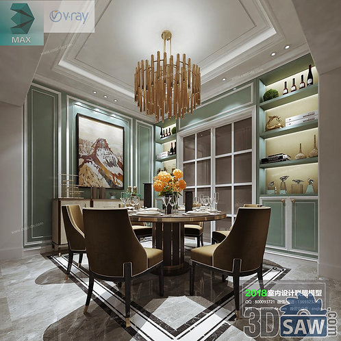 3d Model Interior Free Download - 3ds Max Dining Room Decor - MX-867