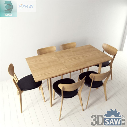 3ds Max Table And Chairs Model - 3d Model Free Download - MX-998