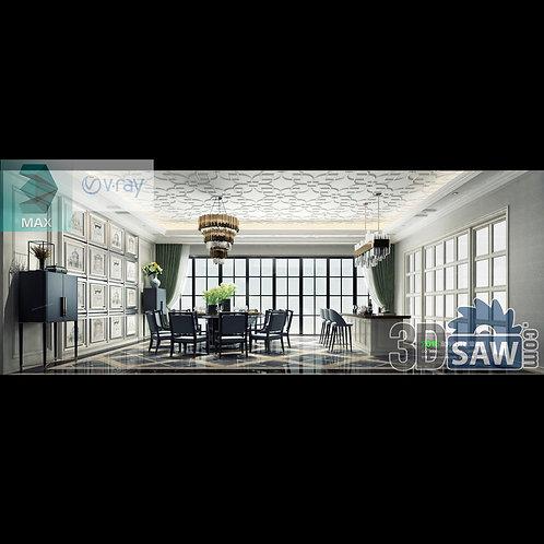 3d Model Interior Free Download - 3ds Max Dining Room Decor - MX-892